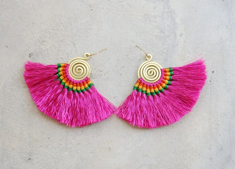 Spiral Fuchsia Pink Tassel Earrings with Waxed Cotton Strings