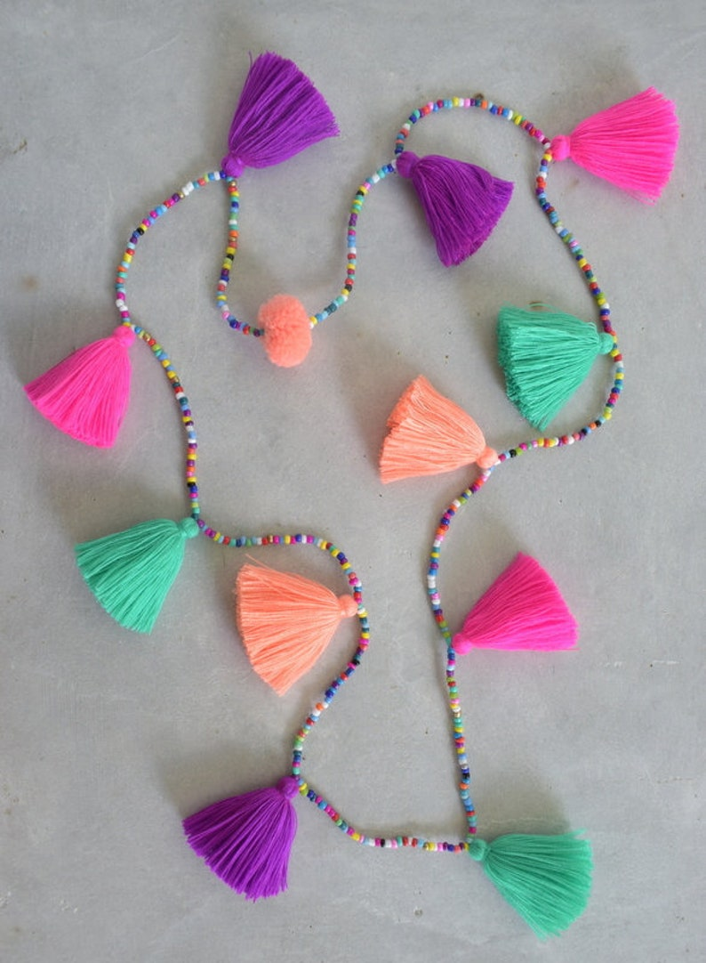 Colorful Tassel Necklace  You Choose Your Colors image 0