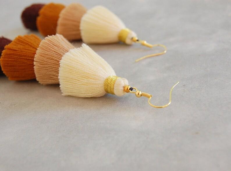 Handmade Ombre Brown Tassel Earrings with Gold Bindings