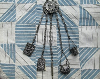 5 ARM SEWING CHATELAINE ca 1880s. Thimble bucket, Aide memoire, retractable pencil, tape measure and pin keep.