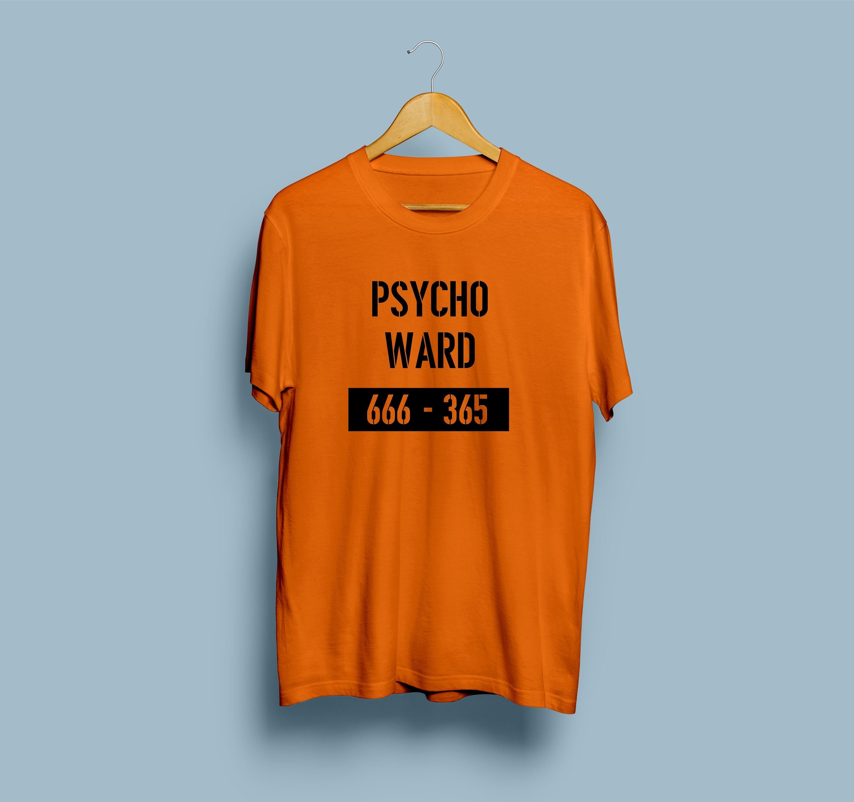d3952fc57470 Psycho Ward   t-shirt orange   Ward blague top slogan   Halloween dress up