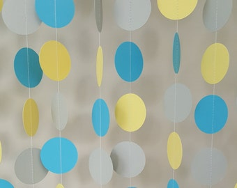 Baby Sprinkle Garland| Baby Shower Garland| Teal Gray and Yellow Garland|