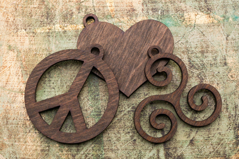 Christmas Ornaments Peace Love And Celtic Set Wood Ornaments Peace