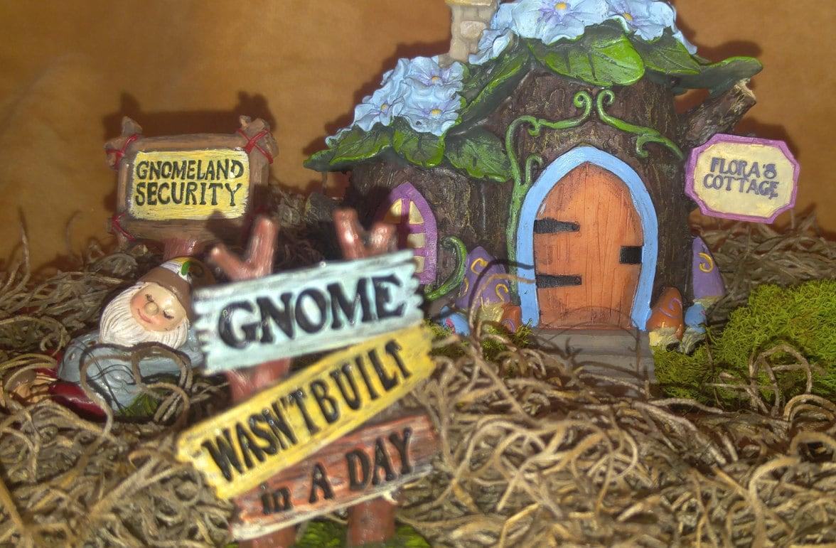 DIY Gnome Garden - Gnome Sign - Miniature Gnomes - DIY Fairy Garden ...
