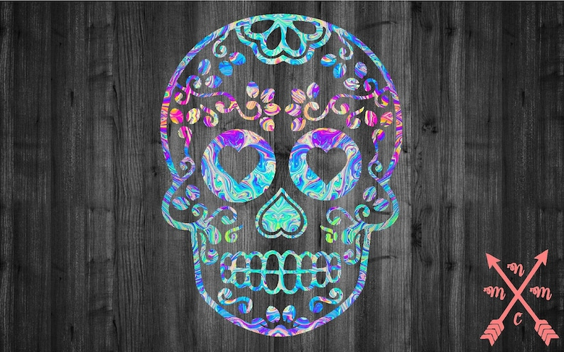 Print Inspired Sugar Skull Vinyl Decal Sticker Car Truck Yeti image 0