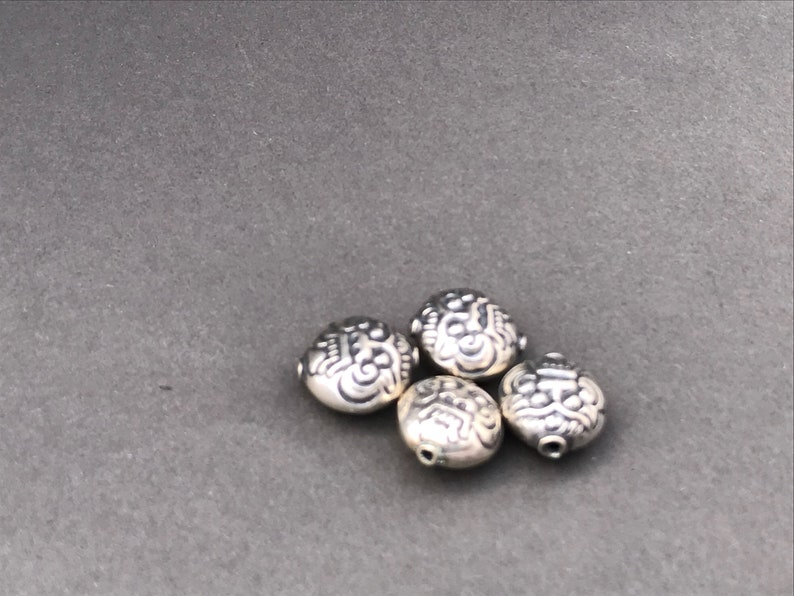 Jewelry Making Supplies Style B325 Beads for Jewelry Artisan Made Beads 11 x 10 mm Silver Bali Face Bead Handmade