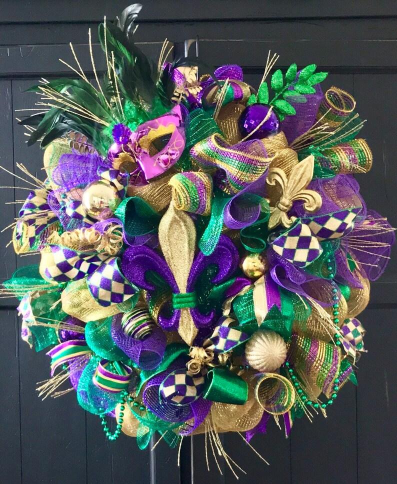 Deluxe Mardi Gras Wreath Fleur De Lis Mardi Gras Wreath Etsy