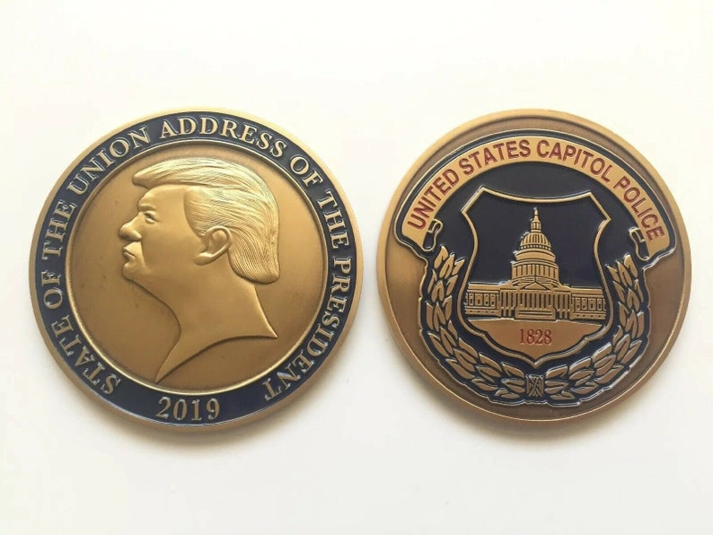 2019 President Donald Trump State of the Union United States Capitol Police  Challenge Coin Medal