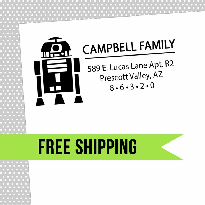Custom Return Address Stamp-Self Inking-Personalized Stamp-Star Wars-R2D2-Rubber Stamp