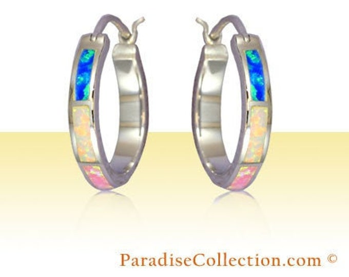 Featured listing image: Sterling Silver Hawaiian Hoop with Rainbow Opal Post Earrings (S) (E794)