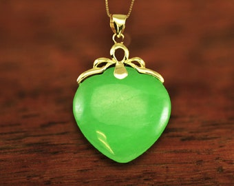 14KT Yellow Gold Hawaiian Palm Tree Bail with Peach Shaped Green Jade Pendant with 14K Yellow Gold Box Chain DYP301