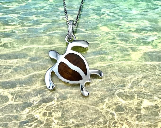 Featured listing image: Sterling Silver Hawaiian Koa Wood HONU Pendant (L) with Rhodium Box Chain (P1249)