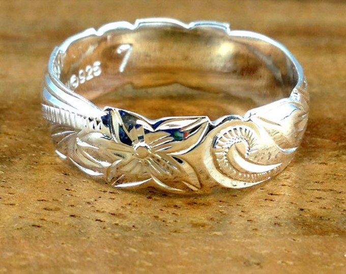 Featured listing image: Sterling Silver 8MM Hawaiian Plumeria and Scroll Ring  (R204)