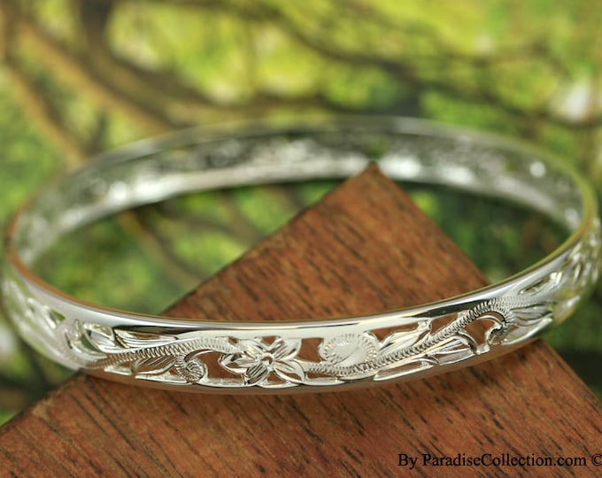 Featured listing image: Sterling Silver 8mm Cut-in Hawaiian Plumeria and Scroll with Plain Edge Bangle (BA008)
