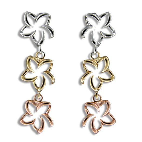 B640T Sterling Silver Hawaiian Tri-color Open Plumeria Bracelet