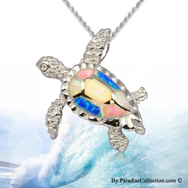 50622d62ee1c Colgante plata esterlina arco iris hawaiano Opal HONU w rodio