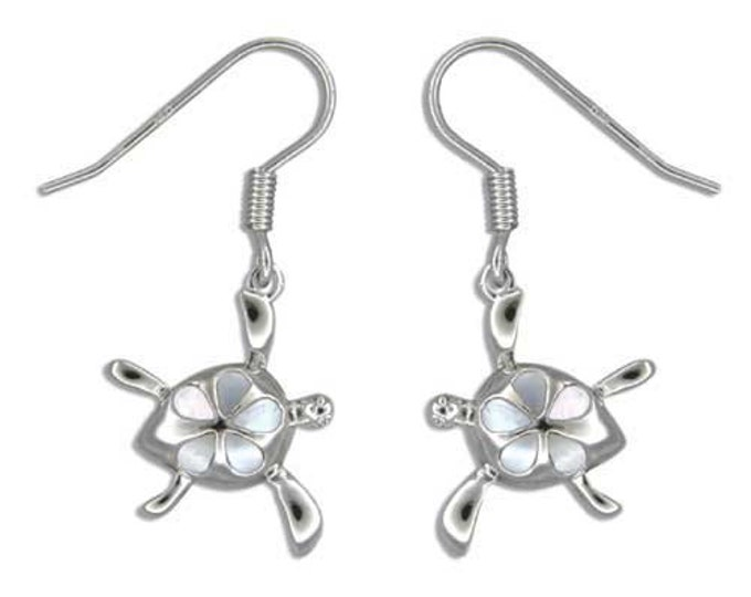 Featured listing image: Sterling Silver Hawaiian Honu White MOP Plumeria Fish Wire Earrings (E717)