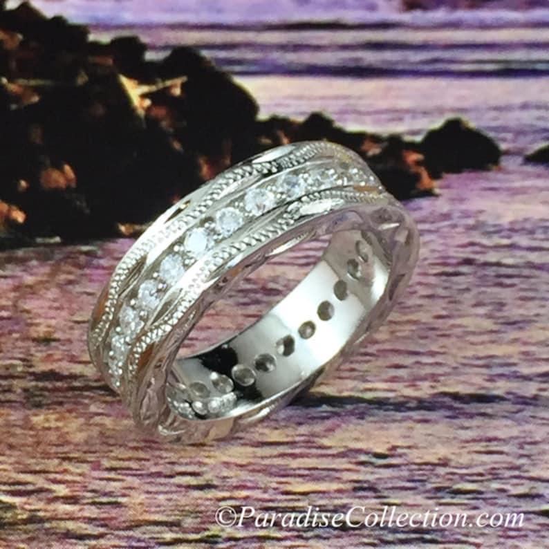 Fine Engraved Sterling Silver Hawaiian Scroll w Channel Set CZ Ring R558