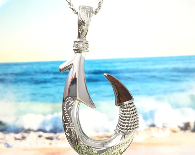 """Featured listing image: Sterling Silver Hawaiian Koa Wood 2"""" Fish Hook with 2 Side Engraving Scroll Design Pendant (XL)  (P1193) with Optional Rhodium Rope Chain"""