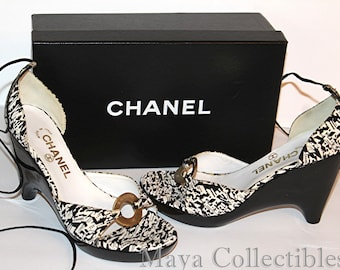 99068d1b8801 Chanel Black   White Canvas Wedge Sandals Ankle Lace CC Logo Brass Ring  With Box Vintage