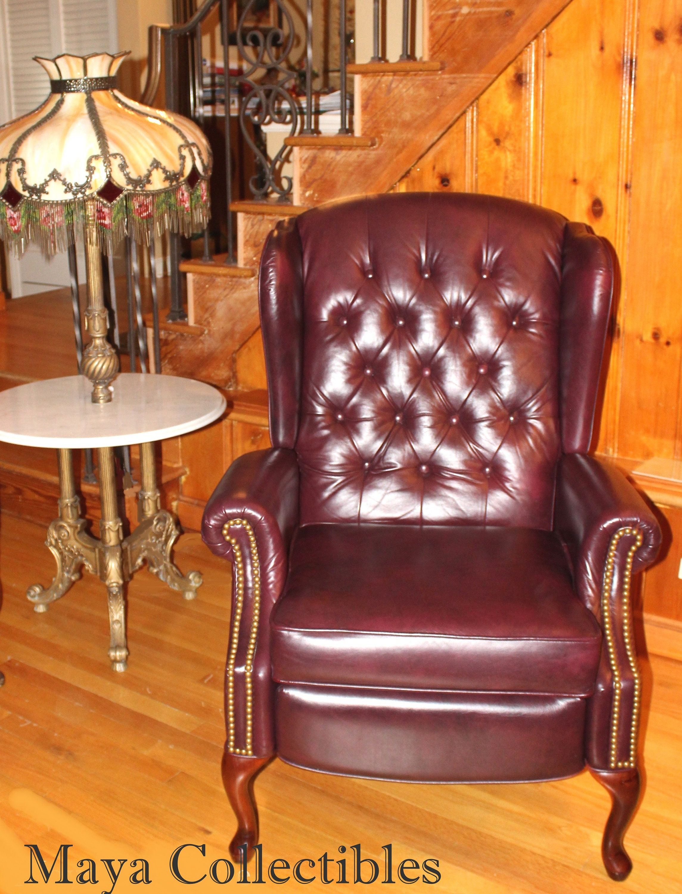 Sensational Lane Queen Anne Wingback Recliner Chair Tufted Leather Pdpeps Interior Chair Design Pdpepsorg