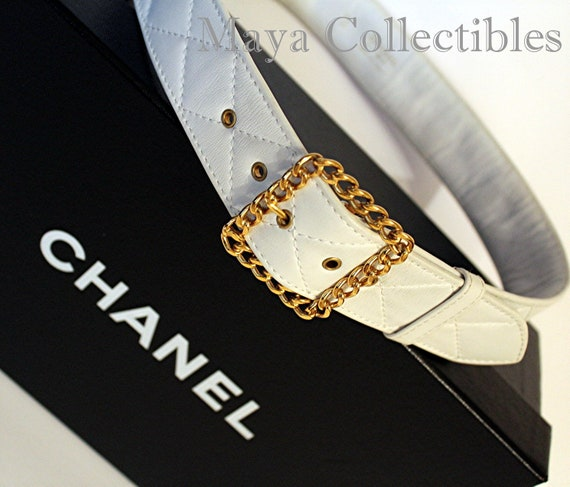 Vintage CHANEL matelassé en cuir Ivoire taille ceinture boucle   Etsy 3feb582b9b5