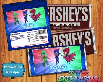 Pj Masks Hersheys Wrapper - Pj Masks Candy Bar Wrapper  - Hershey's Candy chocolat bar - Birthday Party favor - Hershey's chocolate wrappers