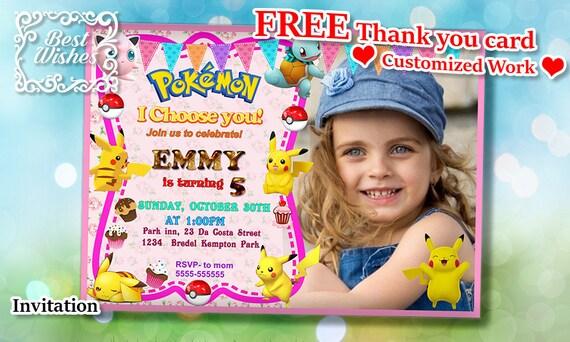 Pokemon Invitation Custom Printable Digital File Birthday