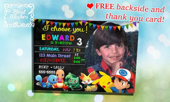 Pokemon Birthday Invitation Party Invitations