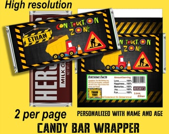 Construction Party Printable - Chocolate Bar Wrappers- Construction Hershey's Wrapper- Birthday Party Favor-  Construction theme   labels