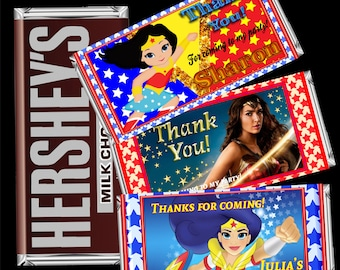 Wonder Woman Hersheys Wrapper - Wonder Woman Candy Bar Wrapper - Hershey's Candy chocolat bar - Hershey's chocolate wrappers