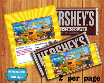 Minions Hersheys Wrapper - Hersheys wrappers - Customized Work - Hershey's Candy - Birthday Party favors - Hershey's chocolate wrappers