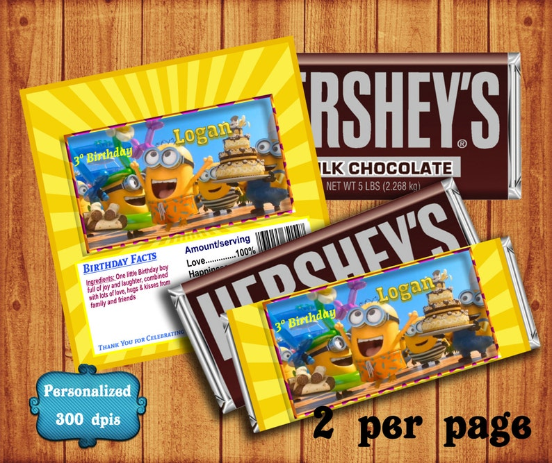 12 Lego Hershey Candy Bar Wrapper Party Favor Child/'s Birthday Custom