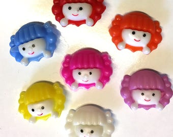 10 25 Or 50 Pink Coloured Plastic Girls Face Buttons 22mm