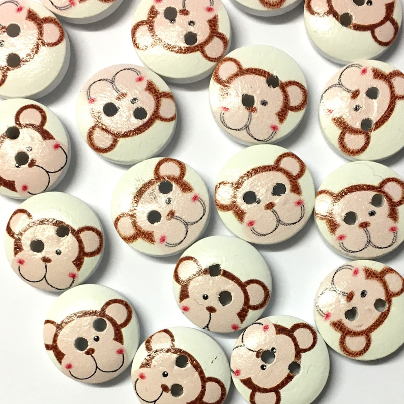 10 White Resin Two Hole Buttons  Size 15mm Ideal Baby Knits