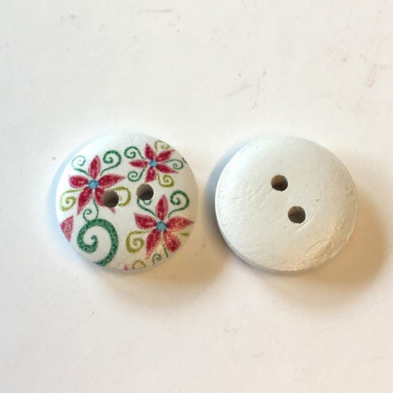 pink and green flower pattern wooden buttons 10 x 18mm white