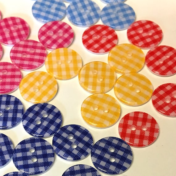 10 x 14mm Navy blue and white gingham fabric check shank buttons