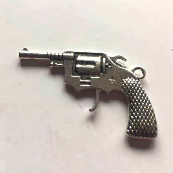 Original Berloque vintage porte clé pistolet miniature 2mm