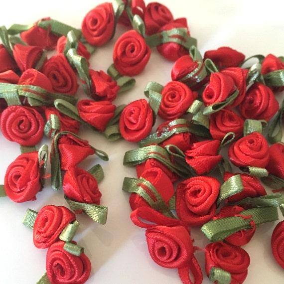 20 Red Ribbon Roses Satin Ribbon Roses Red Satin Roses Sew Etsy