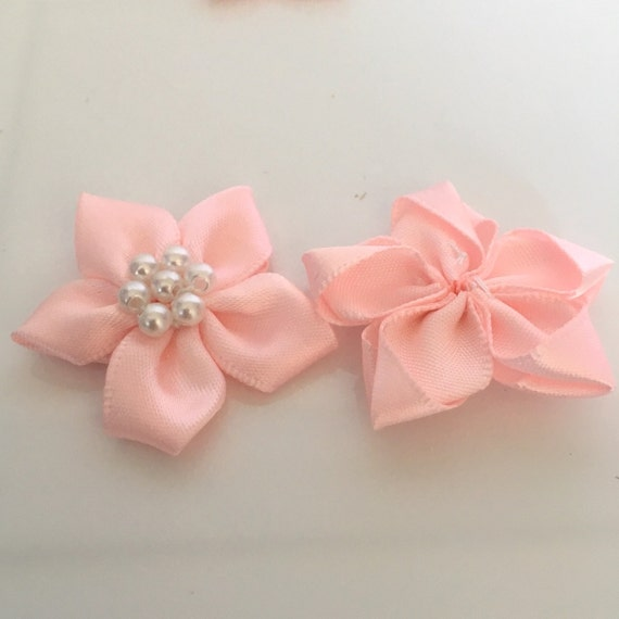 Satin Ribbon Ruffle Roses Rosettes 3.5cm Card Making Craft Sewing 15 Colours