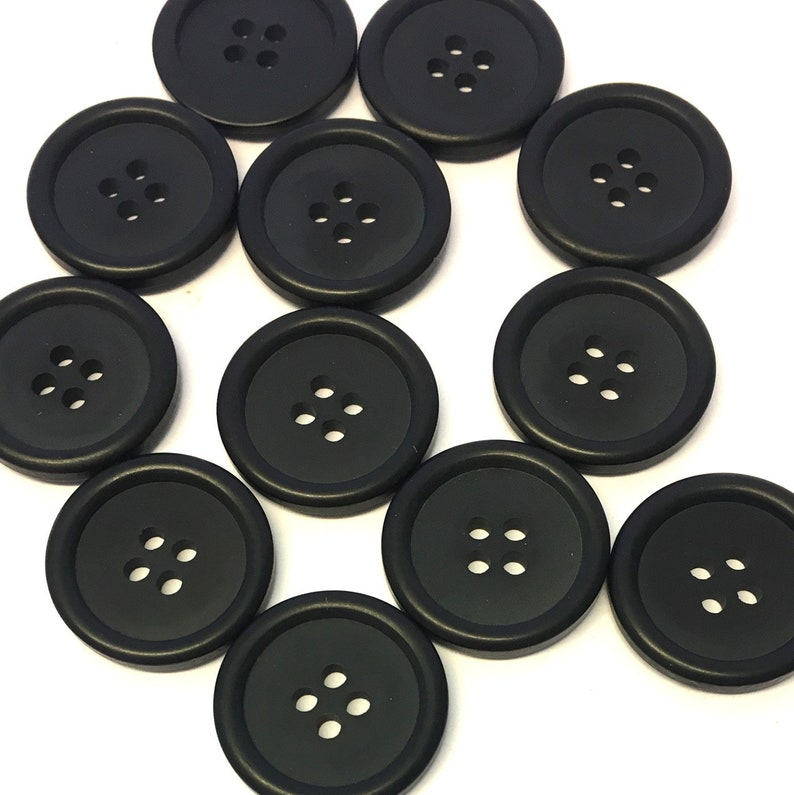 Large 25mm 40L x 10 Quality Coat Jacket Black 4 Hole Gloss Resin Buttons