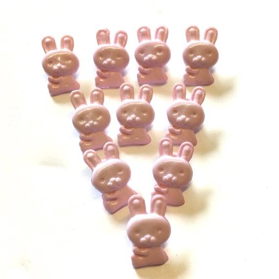 10 x Cute Pink Rabbit Baby Novelty Plastic Shank Buttons E43