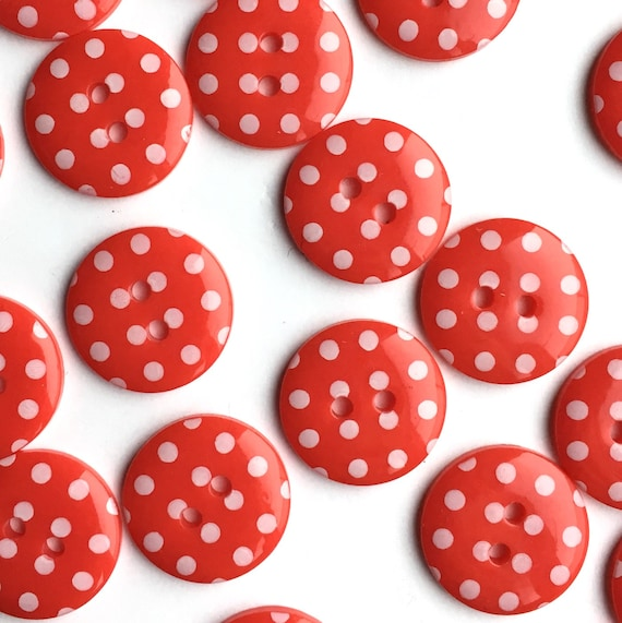 10 Fabric Covered Eyelet Buttons Navy Polka Dots 14mm