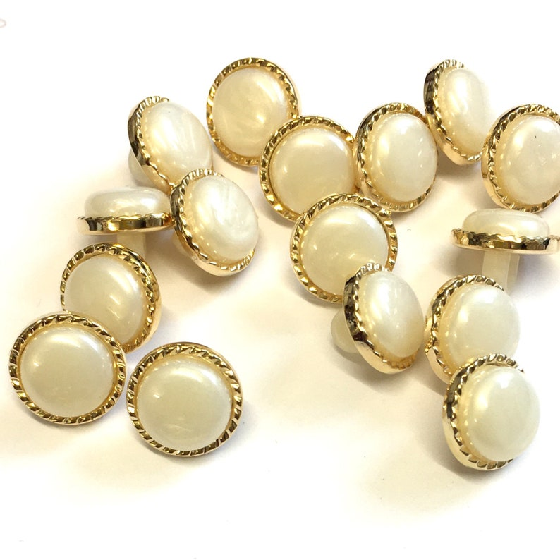 18L Italian buttons 10 ivory blouse buttons fancy metallic buttons small 11mm pearl effect buttons with metallic rope effect border
