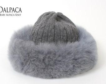 1610727516e Baby alpaca knit hat w alpaca fur trim