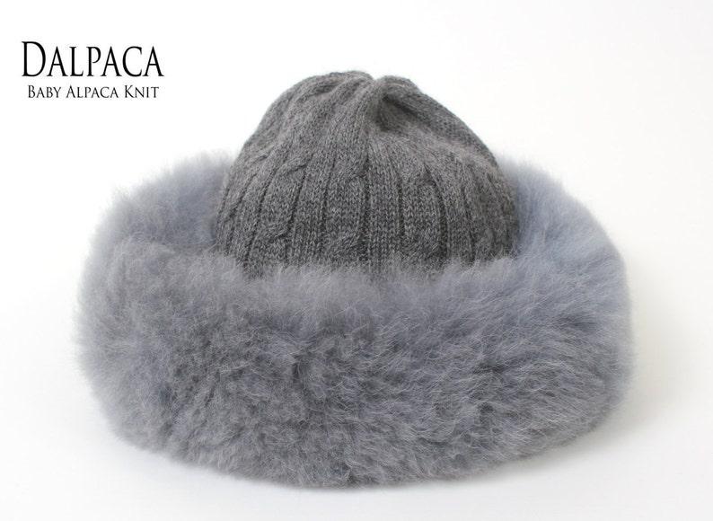 ec1d13f0d3e Baby alpaca knit hat w alpaca fur trim Russian hat fluff