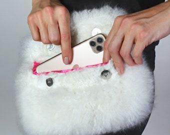 Envelope wallet, clutch, wallet, handbag, alpaca fur wallet, alpaca clutch, magnetic wallet, baby alpaca bag, fur wallet, envelope clutch