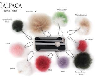 Alpaca Fur Phone Charm, fur pom, phone charm, iphone, samsung, keychain pom charm, handbang fur ball, fur accessory, pom charm, no-kill fur