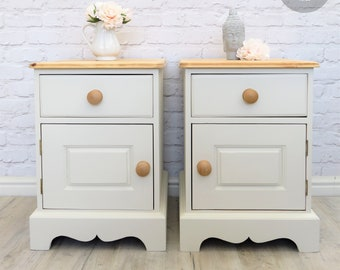 NOW SOLD Beautiful Solid Pine Bedside Cabinets Professionally Refurbished in Farrow & Ball Clunch (No. 2009)