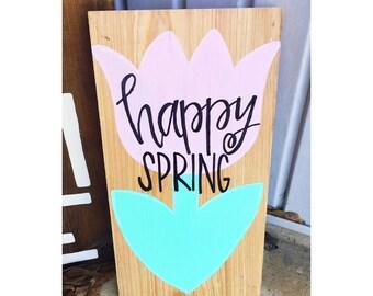 Happy spring decor wood sign